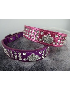 Hundehalsband Krone metallic